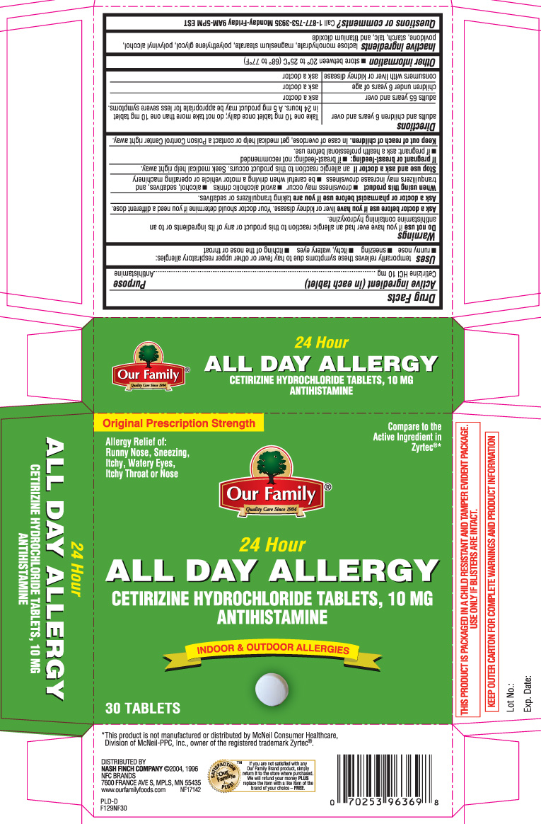 All Day Allergy Relief 24 Hour (Cetirizine Hcl) Tablet [Our Family (Nash Finch Company)]