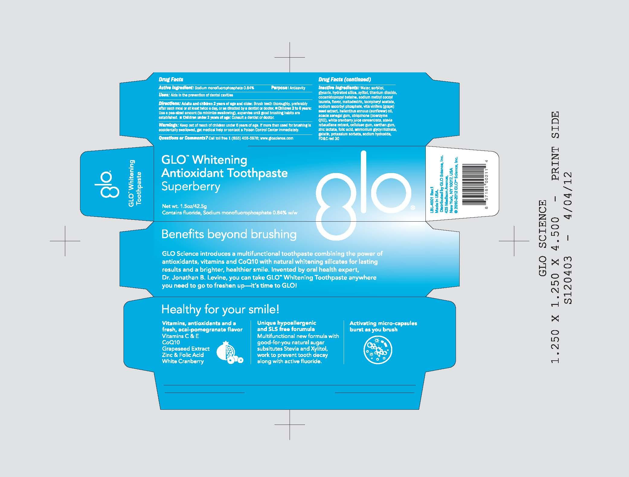 Glo Science Antioxidant (Fluoride) Paste, Dentifrice [Glo Science Inc]