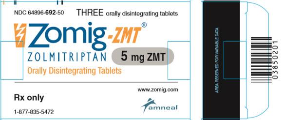 Zomig-ZMT 5mg carton 3 orally disintegrating tablets