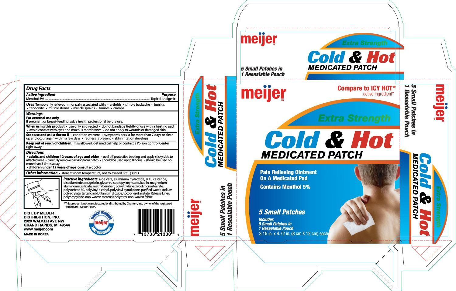 Meijer Extra Strength Cold And Hot Medicated (Menthol) Patch [Meijer]
