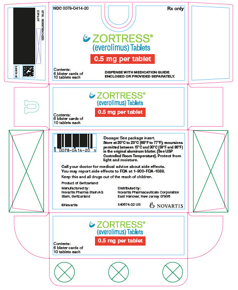 PRINCIPAL DISPLAY PANEL Package Label – 0.5 mg Rx Only	NDC 0078-0414-20 Zortress® (everolimus) Tablets