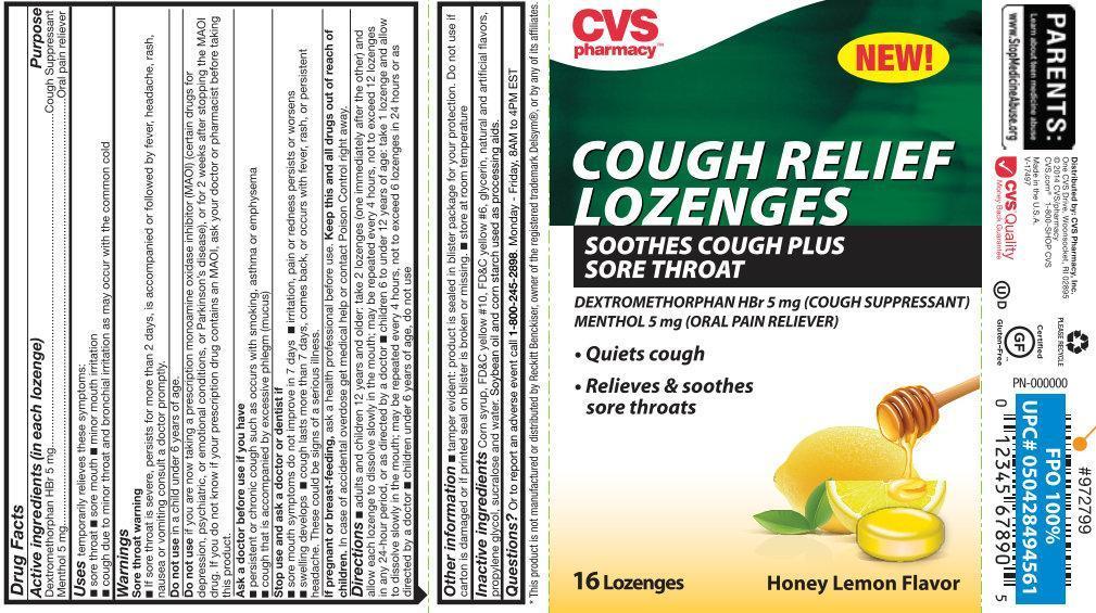 Cvs Pharmacy Cough Relief Honey Lemon Flavor (Dextromethorphan Hydrobromide, Menthol) Lozenge [Cvs Pharmacy, Inc.]