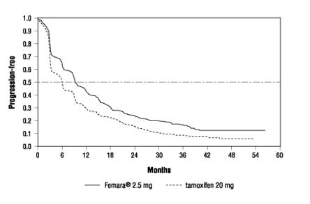 Figure 2  Kaplan-Meier Estimates of Time to Progression (Tamoxifen Study)
