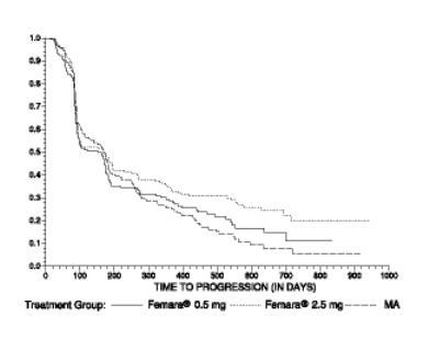 Figure 4  Kaplan-Meier Estimates of Time to Progression (Megestrol Acetate Study)