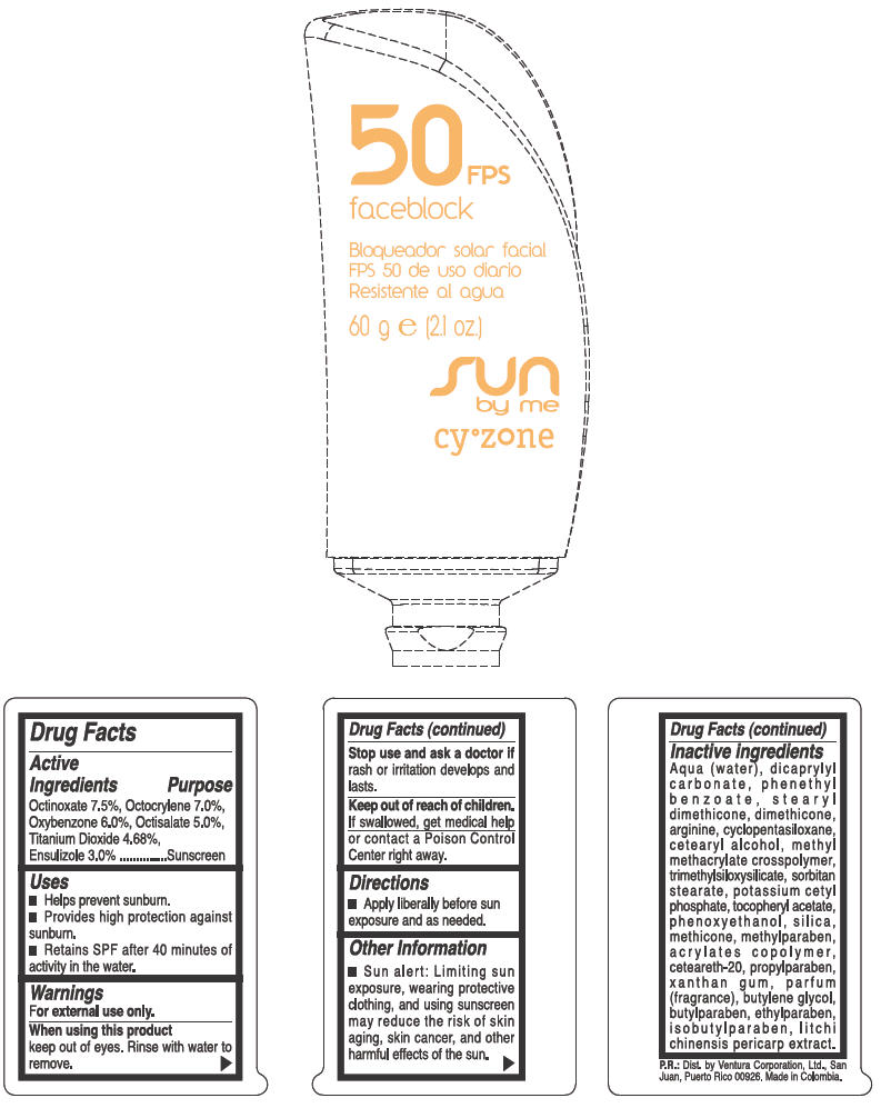 Cyzone Sun By Me Sunblock Spf 50 (Octinoxate, Octocrylene, Oxybenzone, Octisalate, Titanium Dioxide, And Ensulizole) Cream [Ventura Corporation Ltd]