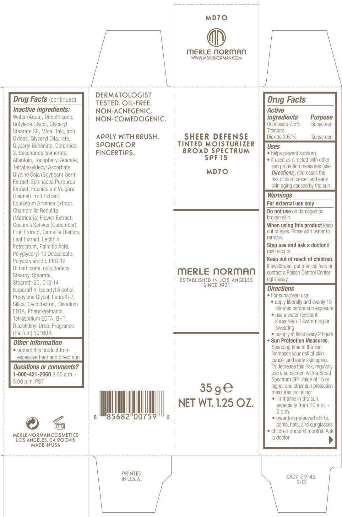 Sheer Defense Tinted Moisturizer Broad Spectrum Spf 15 Md 70 Merle Norman (Octinoxate, Titanium Dioxide) Liquid [Merle Norman Cosmetics, Inc.]