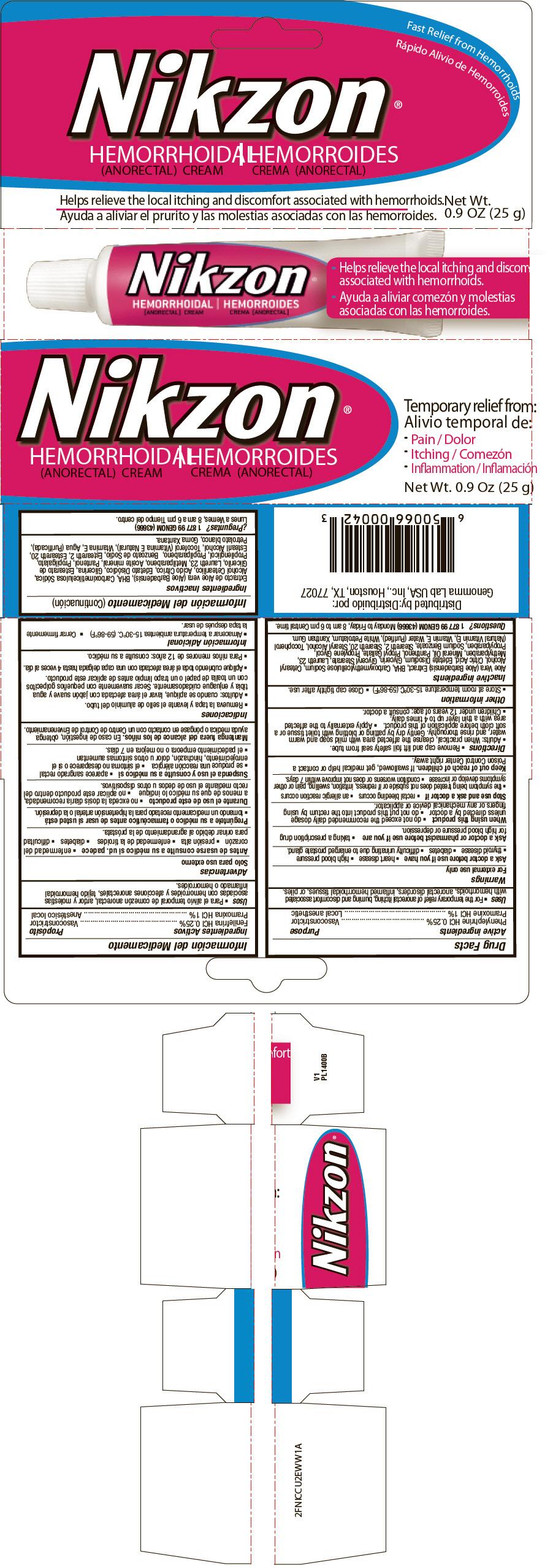 Nikzon Hemorrhoidal (Phenylephrine Hydrochloride And Pramoxine Hydrochloride) Cream [Genoma Lab Usa Inc]