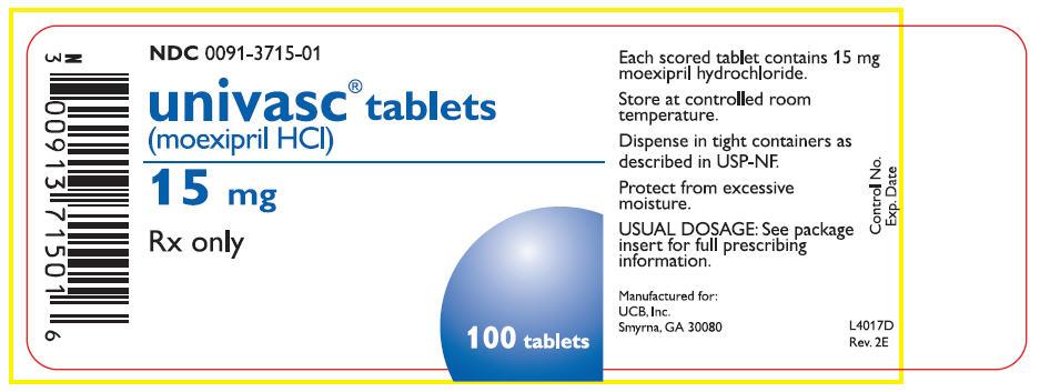 15 mg Tablets Bottle Label