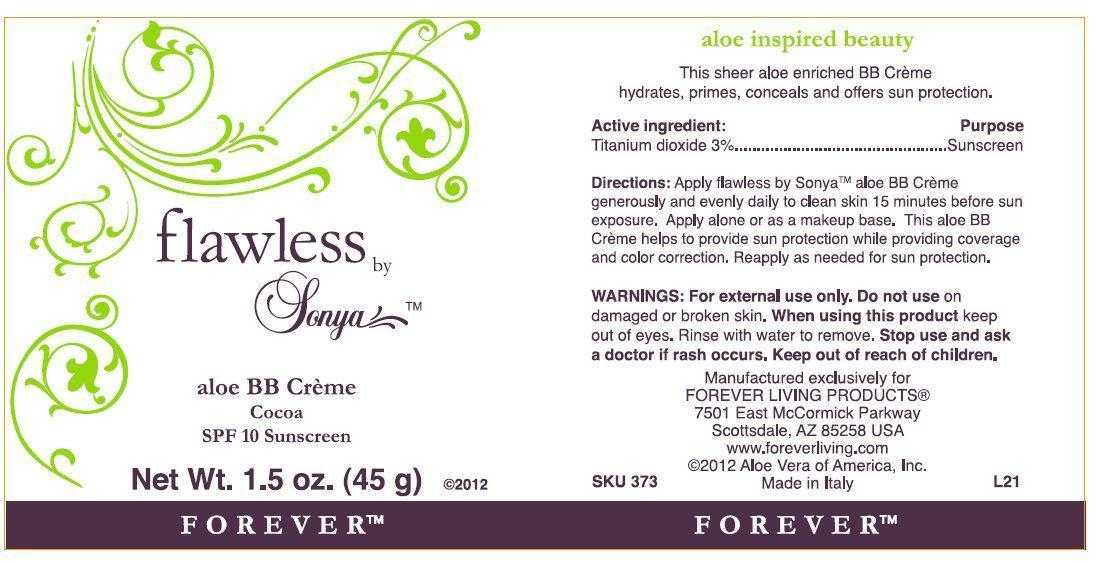 Flawless By Sonya Aloe Bb Creme Cocoa Spf 10 Sunscreen (Titanium Dioxide) Cream [Forever Living Products]