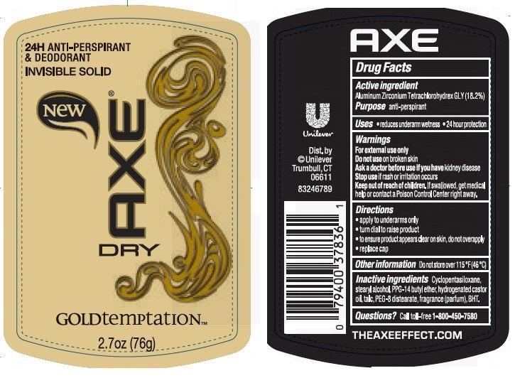Axe Gold Temptation Antiperspirant Deodorant (Aluminum Zirconium Tetrachlorohydrex Gly) Stick [Conopco Inc. D/b/a Unilever]