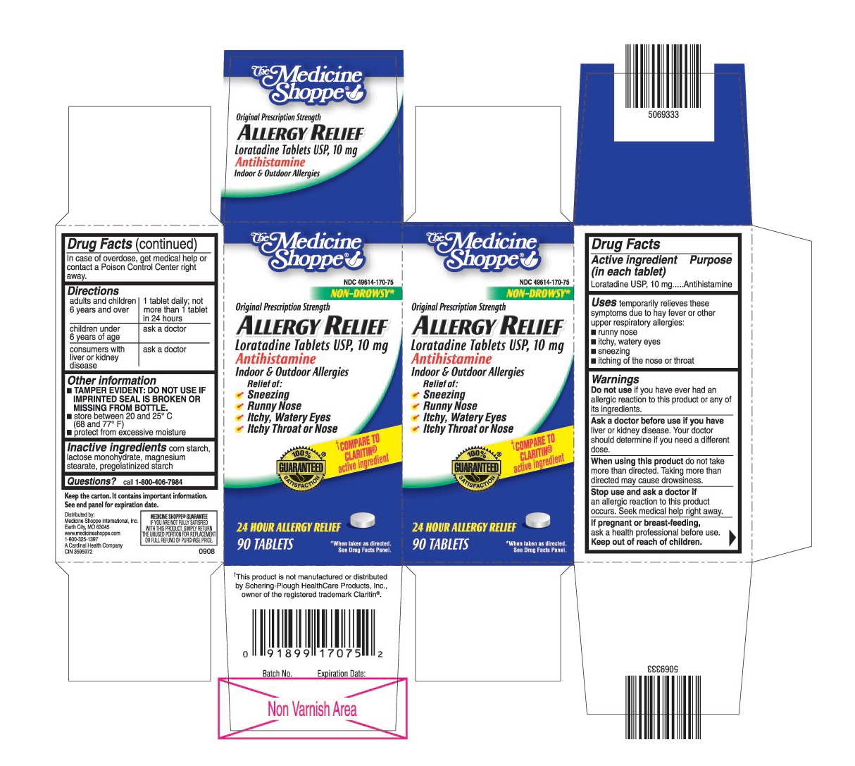 This is the 90 count bottle carton label for Loratadine Medicine Shoppe.