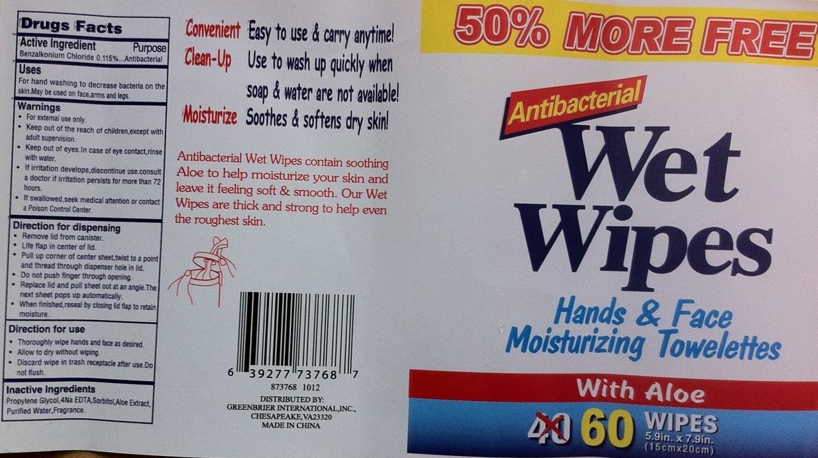 Antibacterial Wet Wipes (Benzalkonium Chloride) Swab [Global Marketing Resources, Inc.]