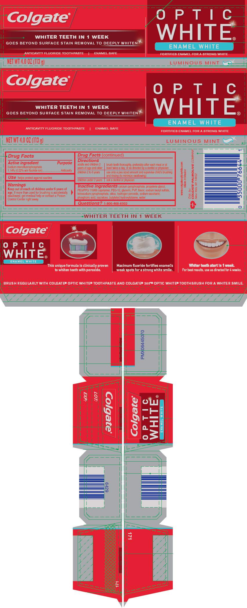Colgate Optic White Enamel White (Sodium Monofluorophosphate) Paste, Dentifrice [Mission Hills S.a De C.v]