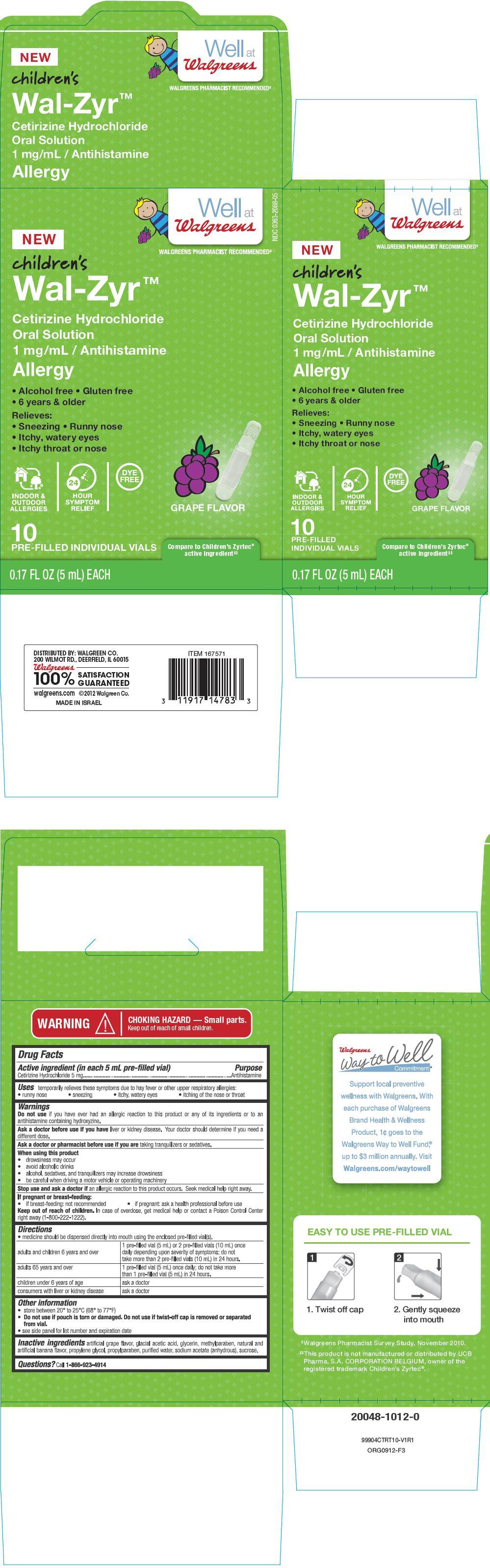 Wal-zyr Cetirizine Hydrochloride (Cetirizine Hydrochloride) Solution [Walgreen Company]
