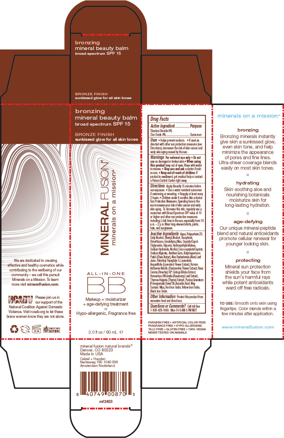Bronzing Mineral Beauty Balm Spf 15 (Titanium Dioxide And Zinc Oxide) Cream [Mineral Fusion Natural Brands]