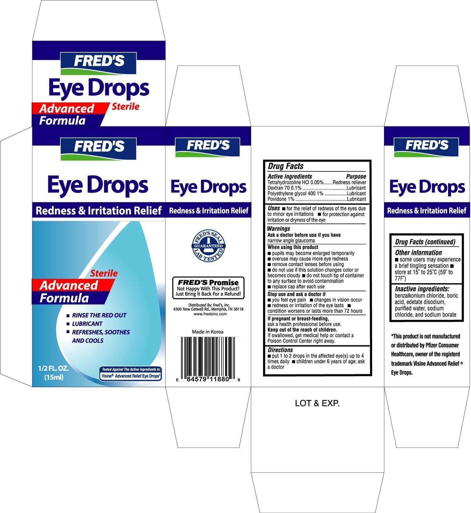 Freds Advanced Eye Drops (Dextran 70, Polyethylene Glycol 400, Povidone, Tetrahydrozoline Hcl) Solution [Freds, Inc]