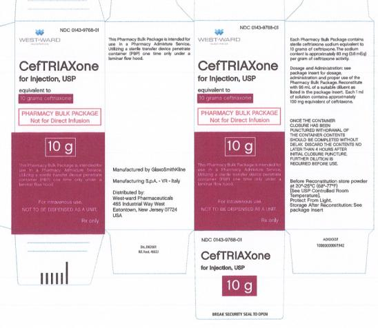 Ceftriaxone Injection, Powder, For Solution [West-ward Pharmaceutical Corp]