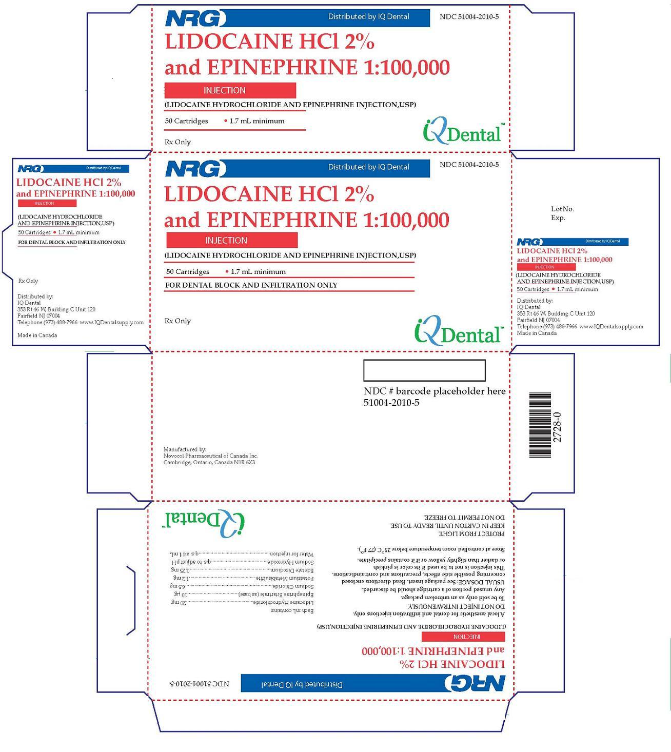 Lidocaine Hydrochloride And Epinephrine Bitartrate Injection, Solution [Novocol Pharmaceutical Of Canada, Inc.]