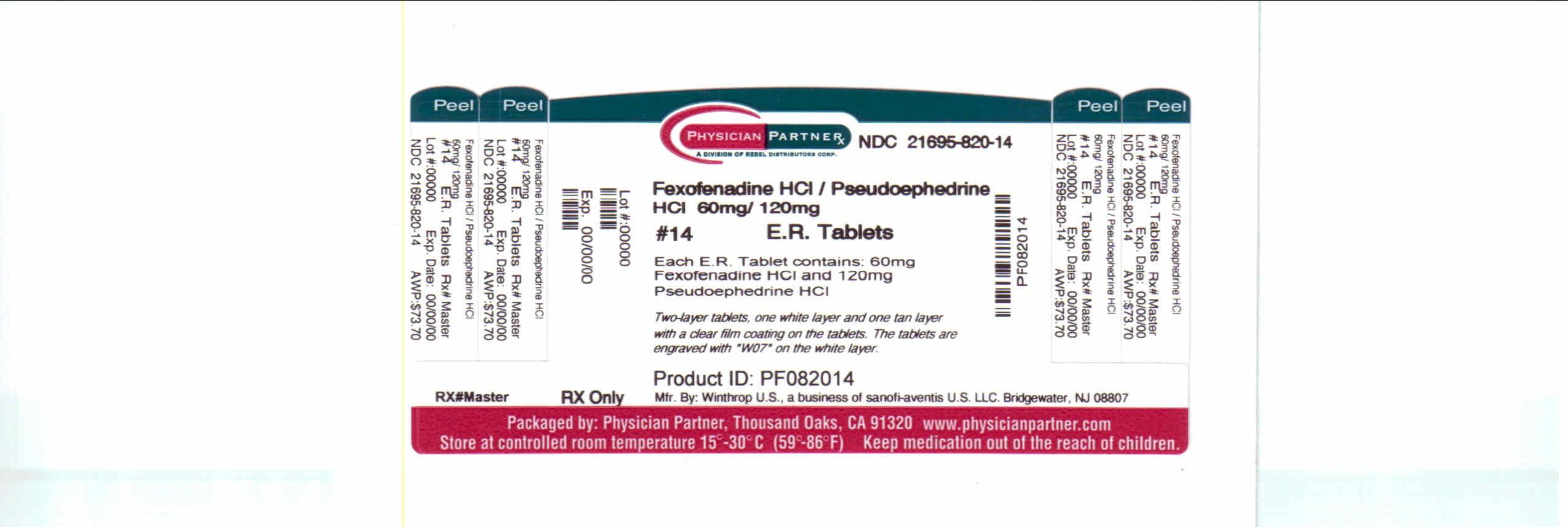 Fexofenadine HCL/Pseudoephenadrine 60/120mg