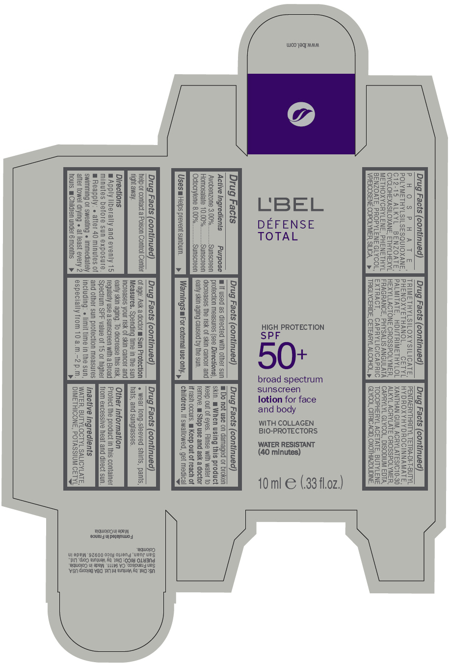 Lbel Defense Total Broad Spectrum Spf 50 Plus Sunscreen For Face And Body (Avobenzone, Homosalate, And Octocrylene) Lotion [Ventura International Ltd]