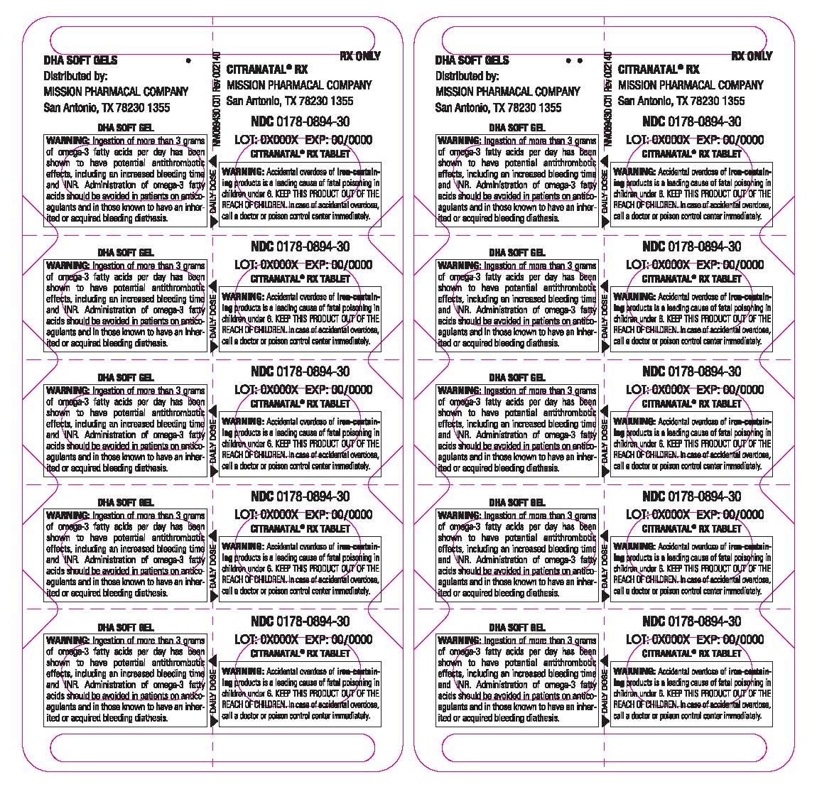 Citranatal Dha (Vitamin C, Calcium, Iron, Vitamin D3, Vitamin E, Thiamin, Riboflavin, Niacinamide, Vitamin B6, Folic Acid, Iodine, Zinc, Copper, Docusate Sodium) Kit [Mission Pharmacal Company]