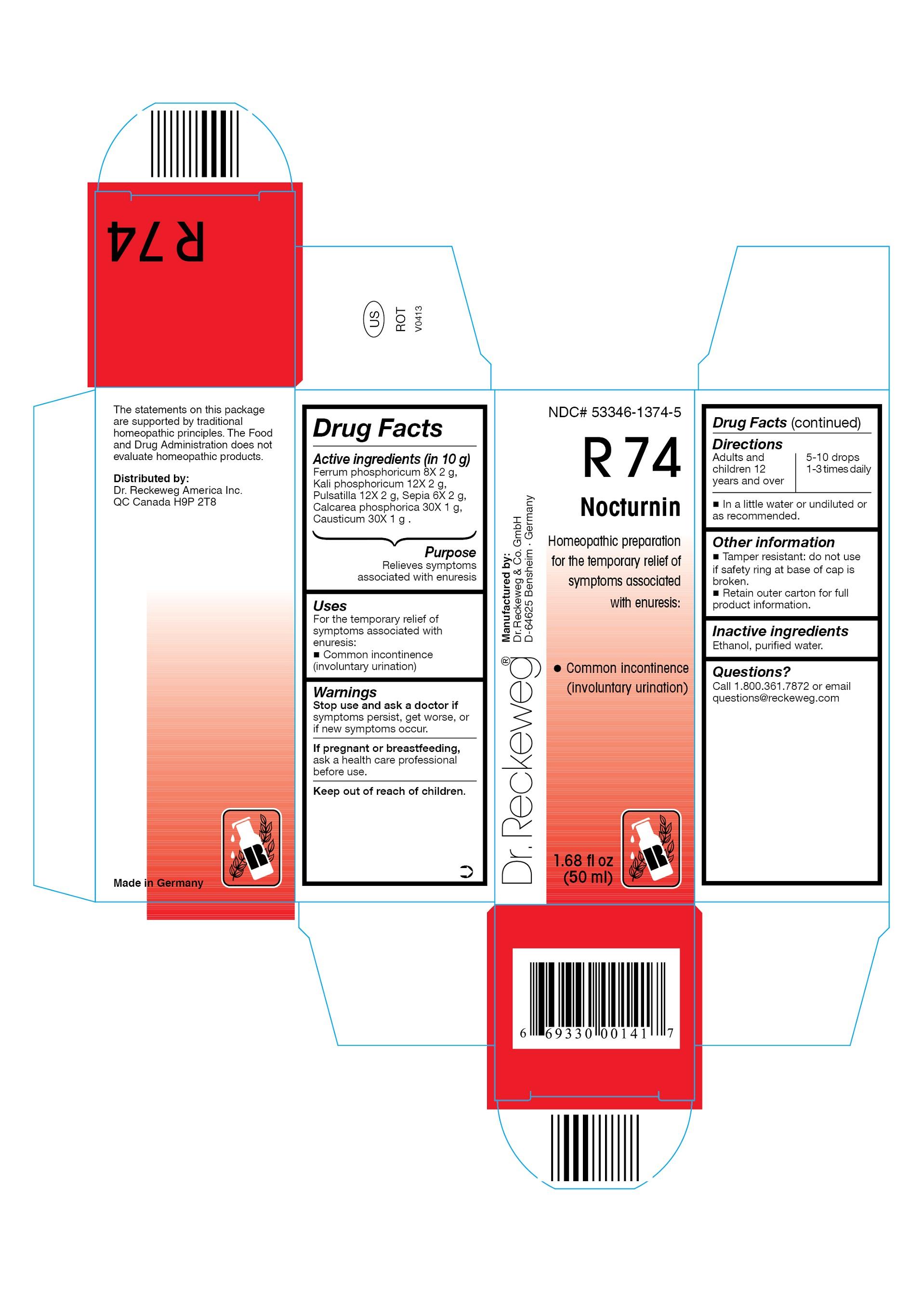 Dr. Reckeweg R74 Nocturnin Combination Product (Ferrum Phosphoricum 8x, Kali Phosphoricum 12x, Pulsatilla 12x, Sepia 6x, Calcarea Phosphorica 30x, Causticum 30x) Liquid [Pharmazeutische Fabrik Dr. Reckeweg & Co]