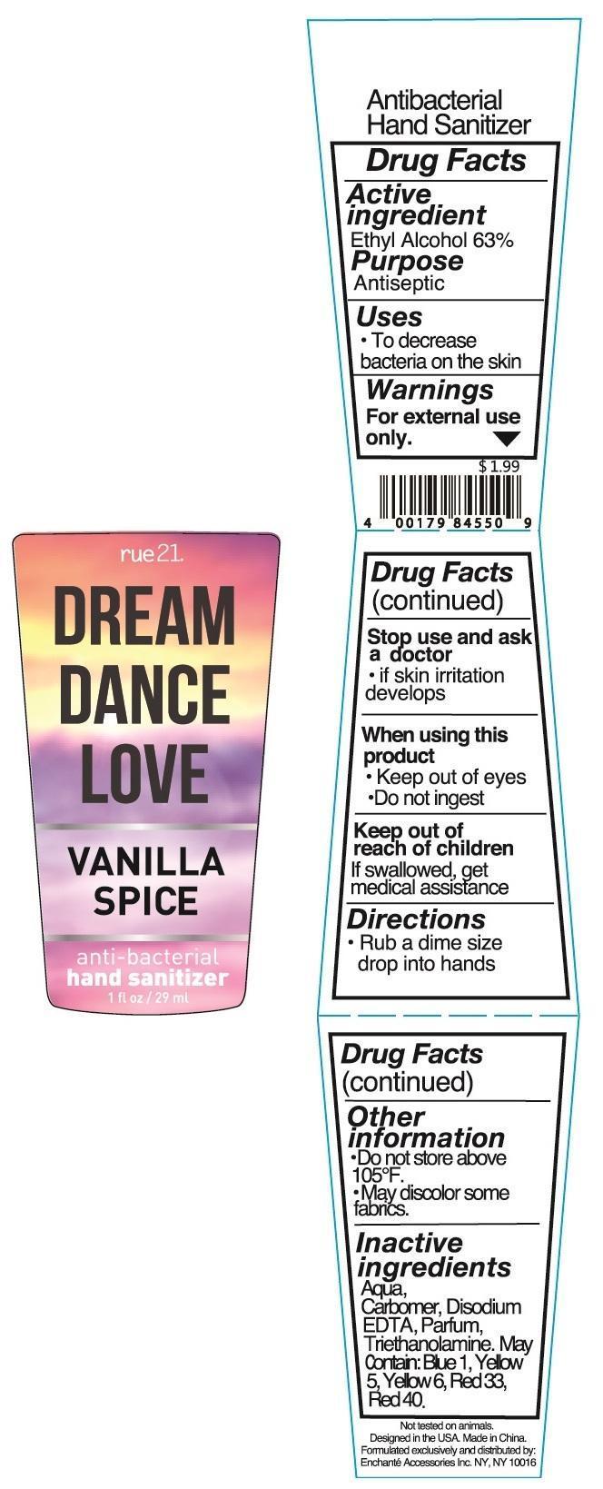 Rue 21 Dream Dance Love Vanilla Spice Anti Bacterial Hand Sanitizer (Alcohol) Liquid [Enchante Accessories Inc. ]