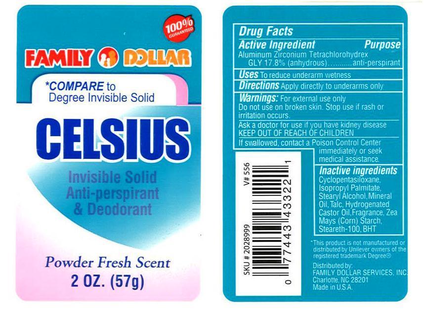 Family Dollar Celsius Antiperspirant Deodorant 2 Oz Stick (Aluminum Zirconium Tetrachlorohydrex Gly) Stick [Vvf Kansas Services Llc]