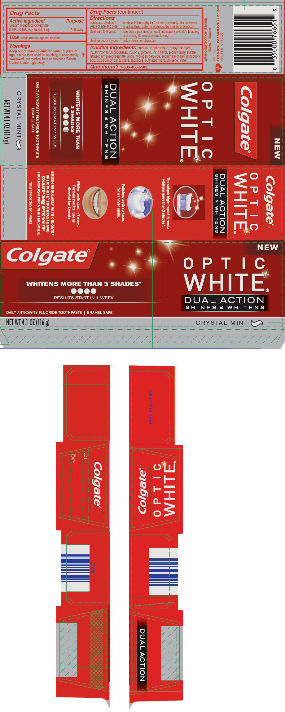 Colgate Optic White Dual Action Crystal Mint (Sodium Monofluorophosphate) Paste, Dentifrice [Mission Hills S.a De C.v]