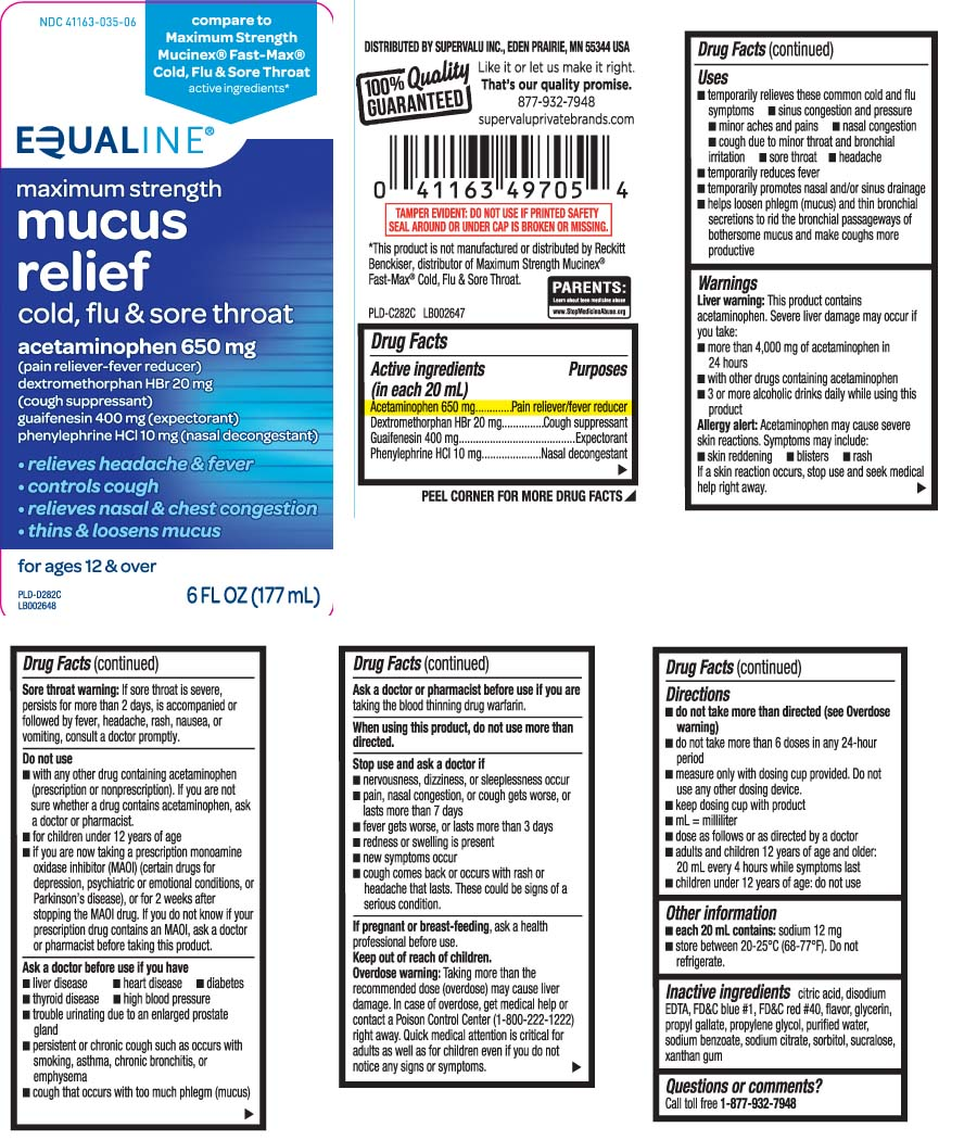 Mucus Relief Cold Flu And Sore Throat Maximum Strength (Acetaminophen, Dextromethorphan Hbr, Guaifenesin, Phenylephrine Hcl) Liquid [Equaline (Supervalu)]