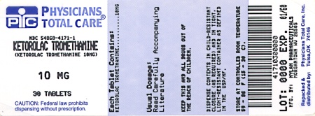 image of 10 mg package label