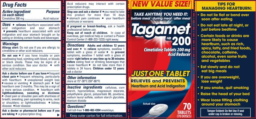 Tagamet HB 200 Cimetidine Tablets 200 mg/Acid Reducer Read and retain the important drug interaction warnings printed on the inside of this carton 50 TABLETS (50 DOSES)