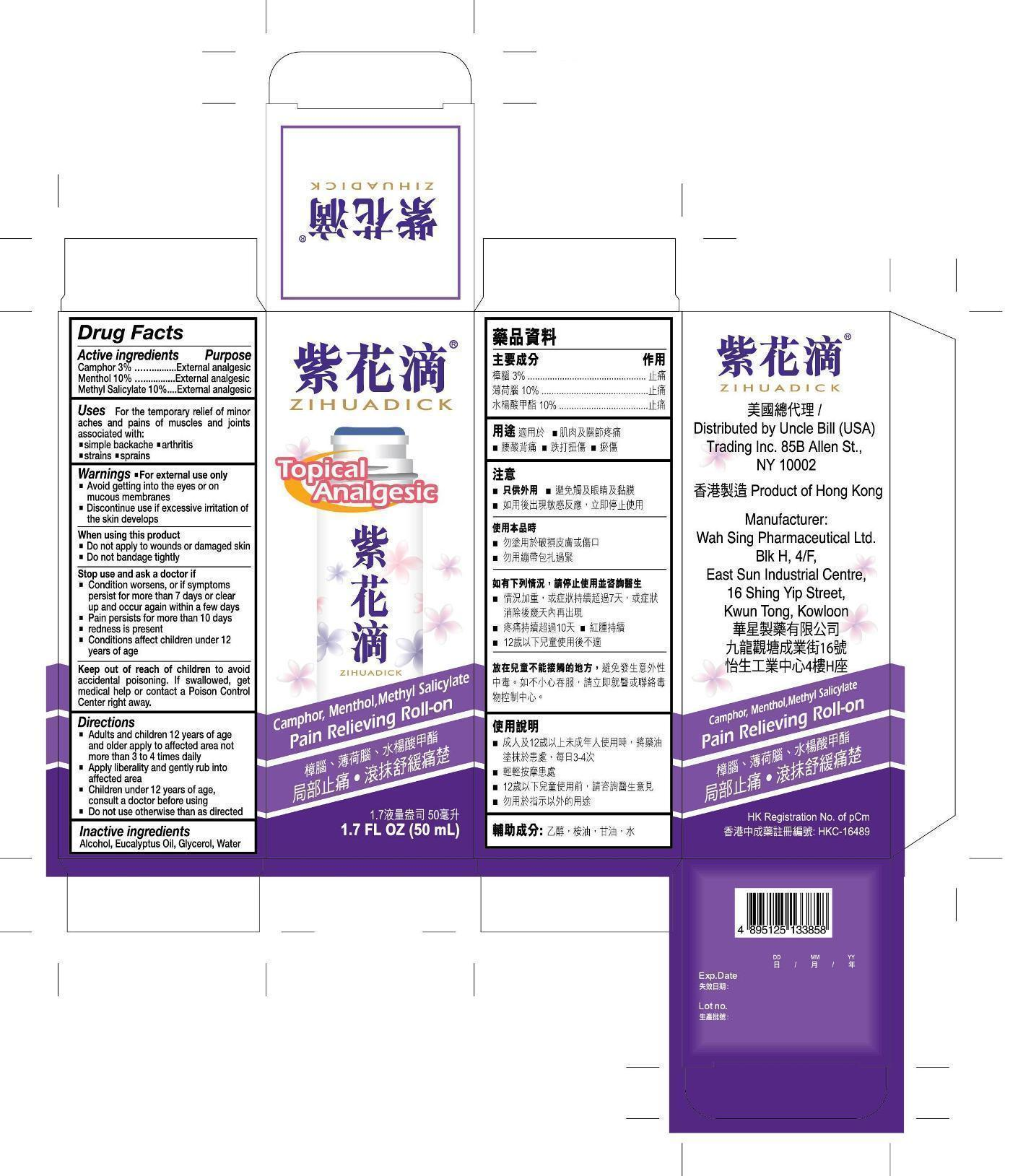 Zihuadick Pain Relieving (Camphor Menthol Methyl Salicylate) Liquid [Wah Sing Pharmaceutical Limited]