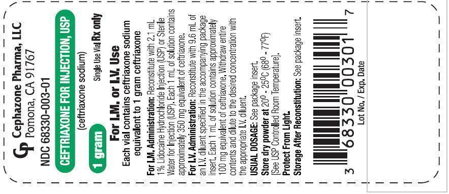 Ceftriaxone Injection, Powder, For Solution [Cephazone Pharma Llc]