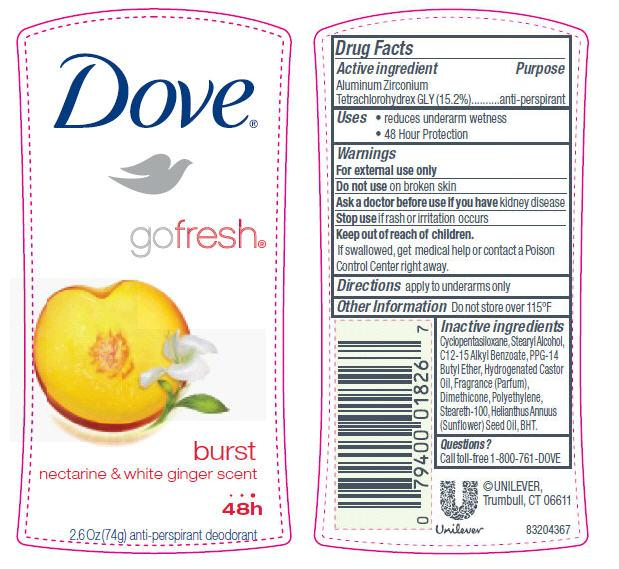 Dove Go Fresh Burst Antiperspirant And Deodorant (Aluminum Zirconium Tetrachlorohydrex Gly) Stick [Conopco Inc. D/b/a Unilever]