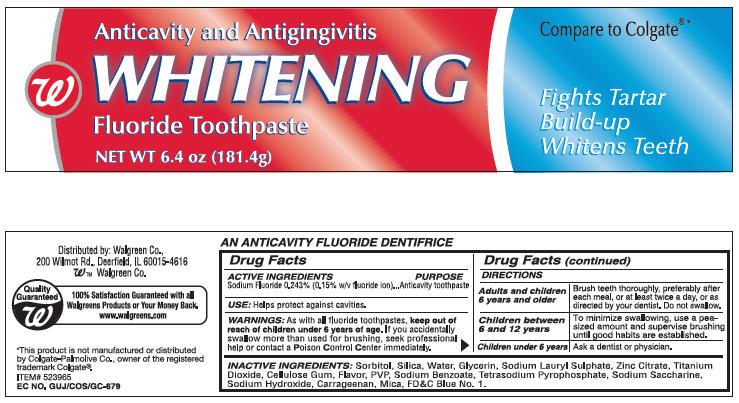 Walgreens Anticavity And Antigingivitis Whitening (Sodium Fluoride) Paste, Dentifrice [Walgreen]