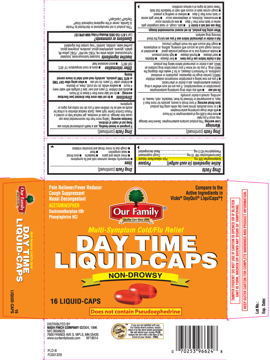 Day Time Cold/flu Relief (Acetaminohpen, Dextromethorphan Hbr, Phenylephrine Hcl) Capsule, Liquid Filled [Our Family (Nash Finch Company)]