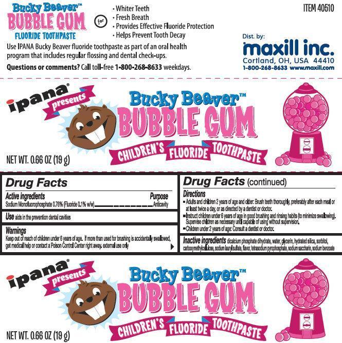Ipana Bucky Beaver Bubble Gum Childrens Fluoride (Sodium Monofluorophosphate) Paste [Maxill Inc]