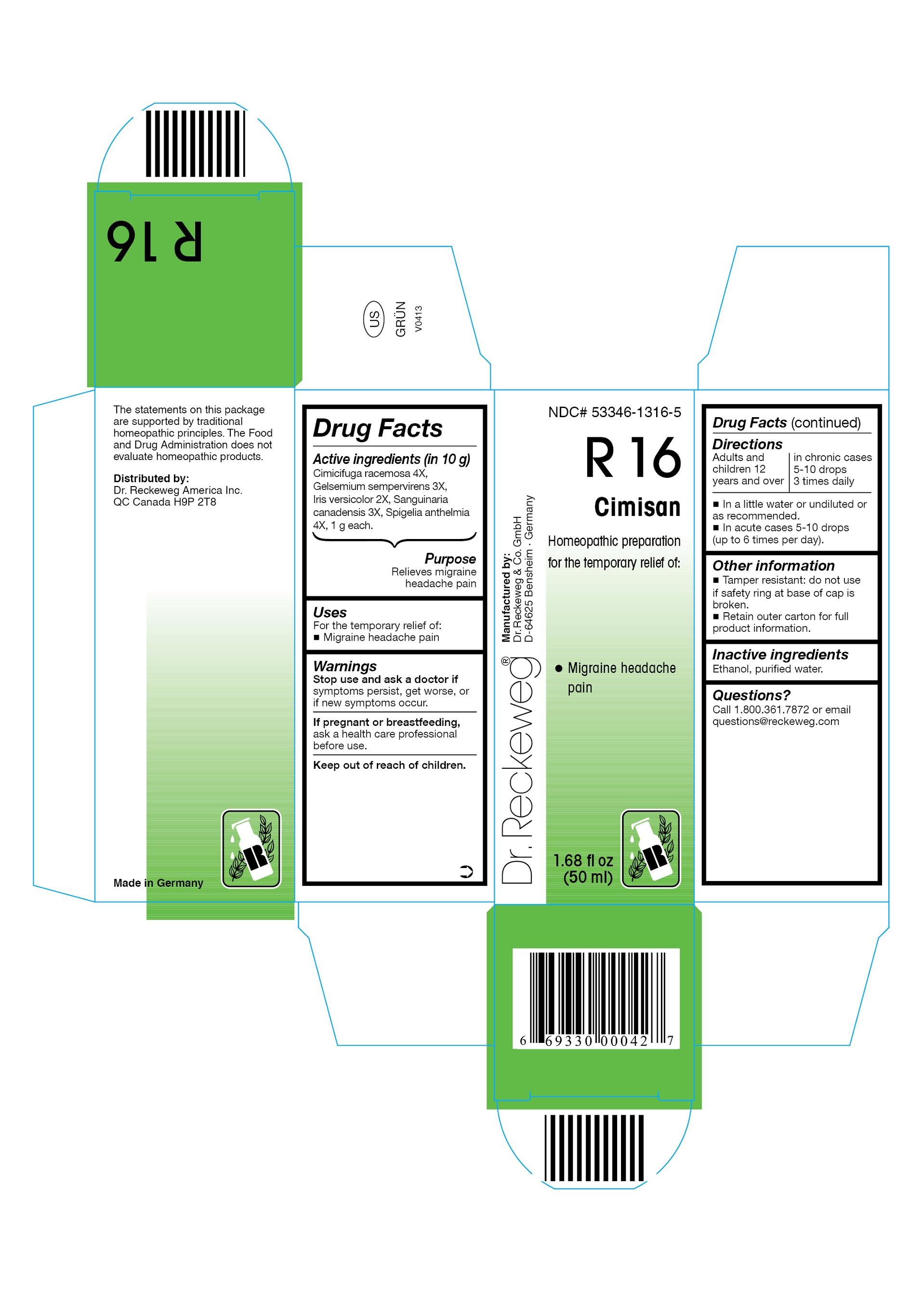 Dr. Reckeweg R16 Cimisan Combination Product (Cimicifuga Racemosa 4x, Gelsemium Sempervirens 3x, Iris Versicolor 2x, Sanguinaria Canadensis 3x, Spigelia Anthelmia 4x) Liquid [Pharmazeutische Fabrik Dr. Reckeweg & Co]