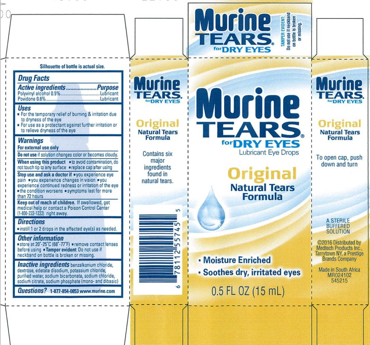 Murine Tears For Dry Eyes (Polyvinyl Alcohol And Povidone) Liquid [Prestige Brands Holdings, Inc.]