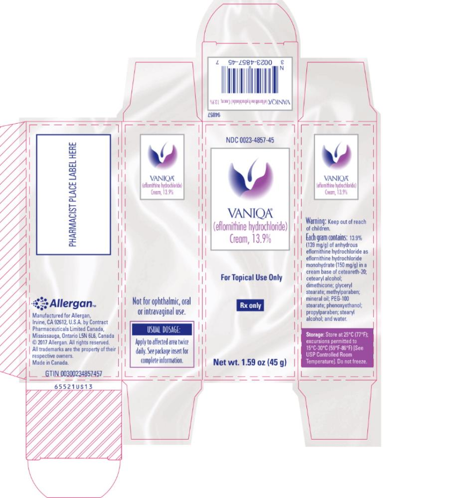 PRINCIPAL DISPLAY PANEL NDC 0023-4857-45 VANIQA (eflornithine hydrochloride)  cream, 13.9% For Topical Use Only Rx Only Net wt. 1.59 oz (45 g)