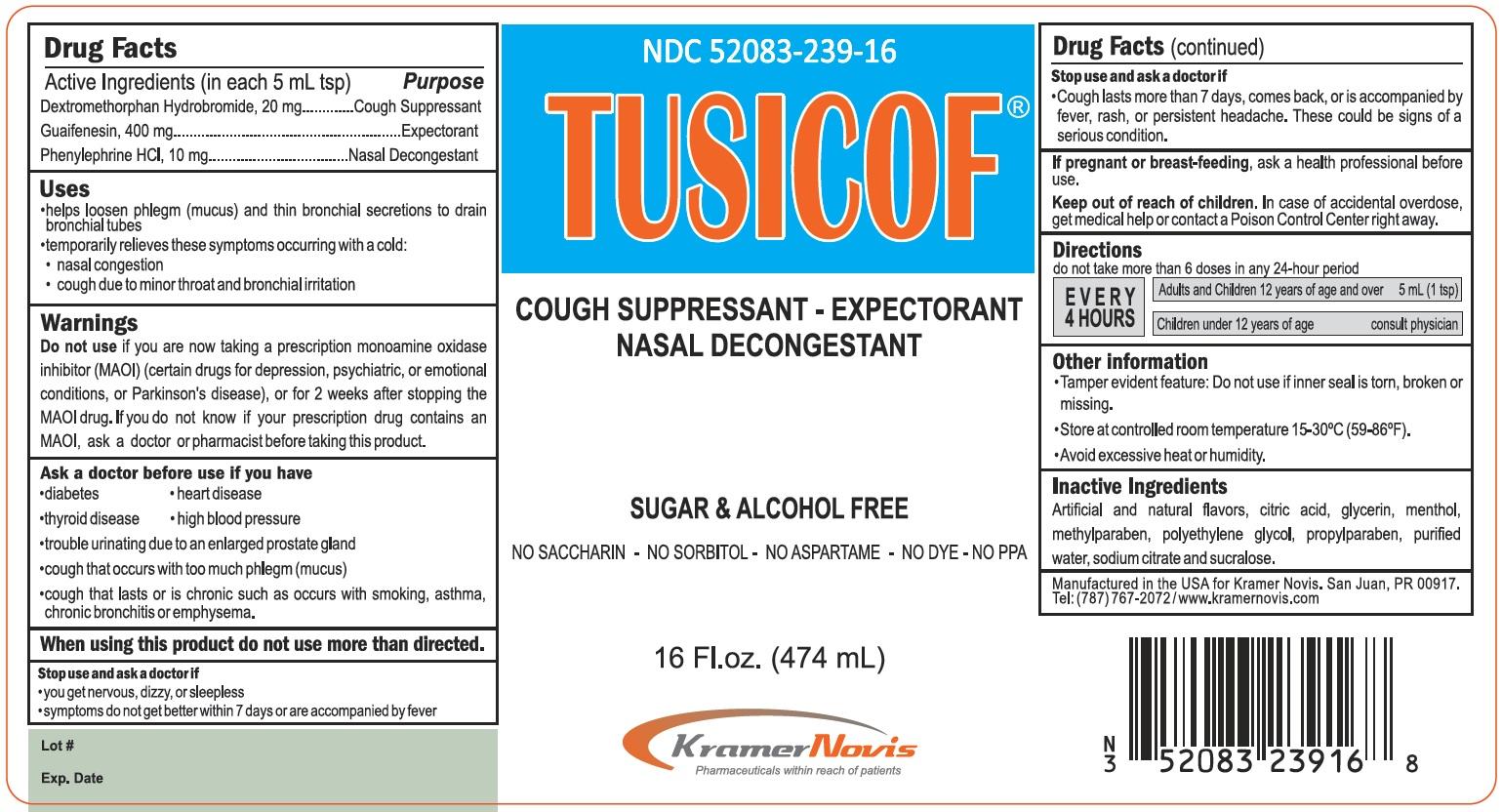 Tusicof (Dextromethorphan, Guaifenesin, And Phenylephrine) Syrup [Kramer Novis]