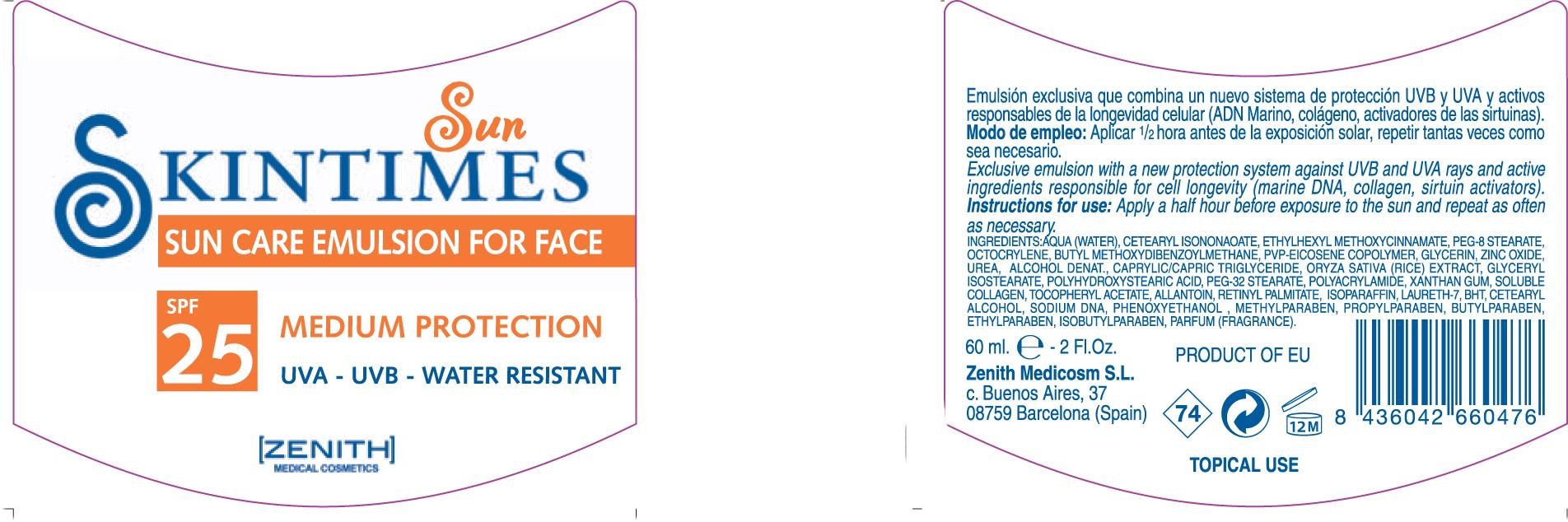 Sun Care For Face (Octinoxate Avobenzone Zinc Oxide Octocrylene) Emulsion [Zenith Medicosm Sl]