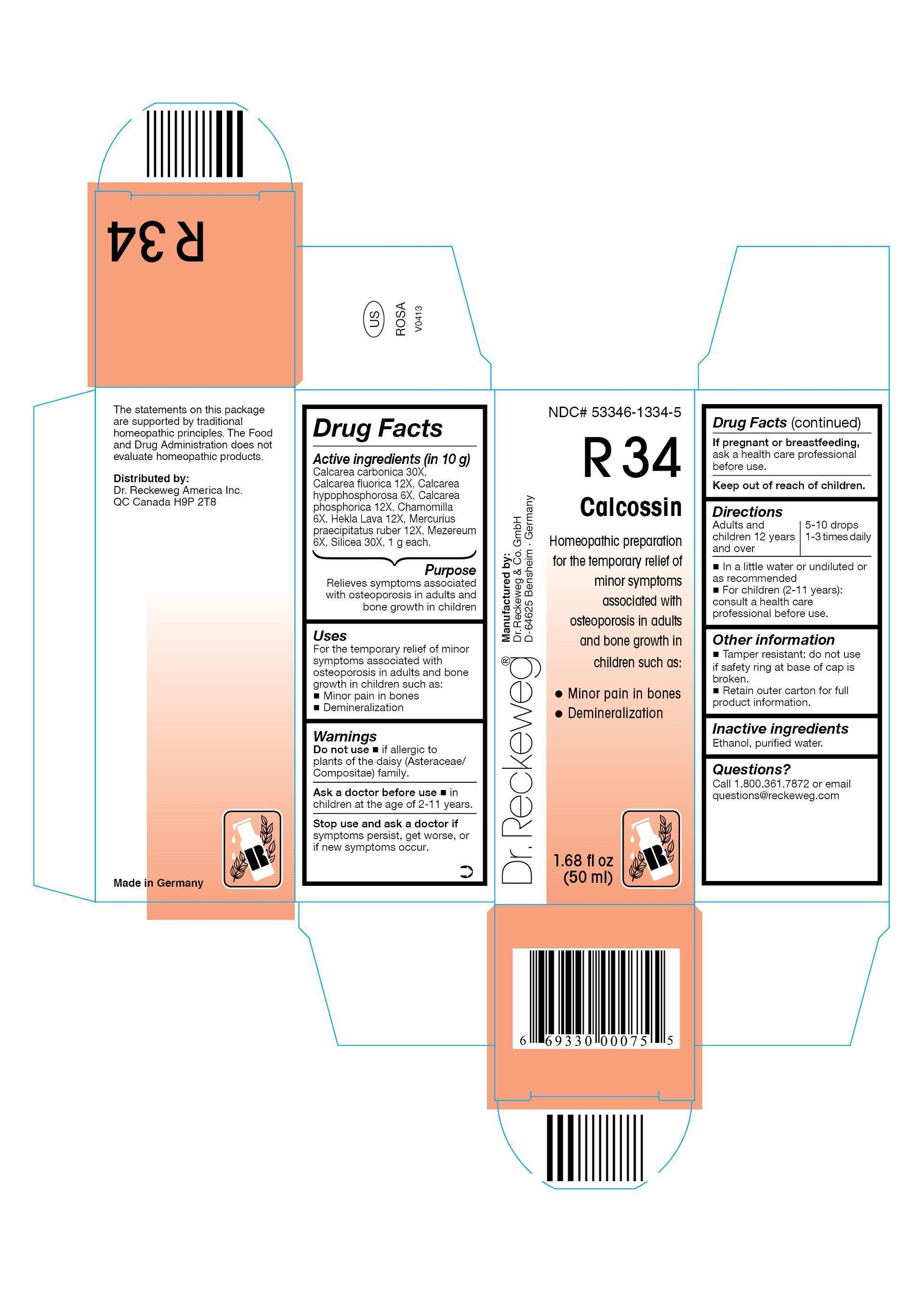 Dr. Reckeweg R34 Calcossin Combination Product (Calcarea Carbonica 30x, Calcarea Fluorica 12x, Calcarea Hypophosphorosa 6x, Calcarea Phosphorica 12x, Chamomilla 6x, Hekla Lava 12x, Mercurius Praecipitatus Ruber 12x, Mezereum 6x, Silicea 30x) Liquid [Pharmazeutische Fabrik Dr. Reckeweg & Co]