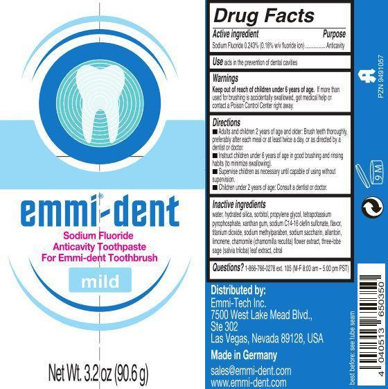 Emmi Dent Sodium Fluoride Anticavity Mild (Sodium Fluoride) Paste, Dentifrice [Emag Ag]