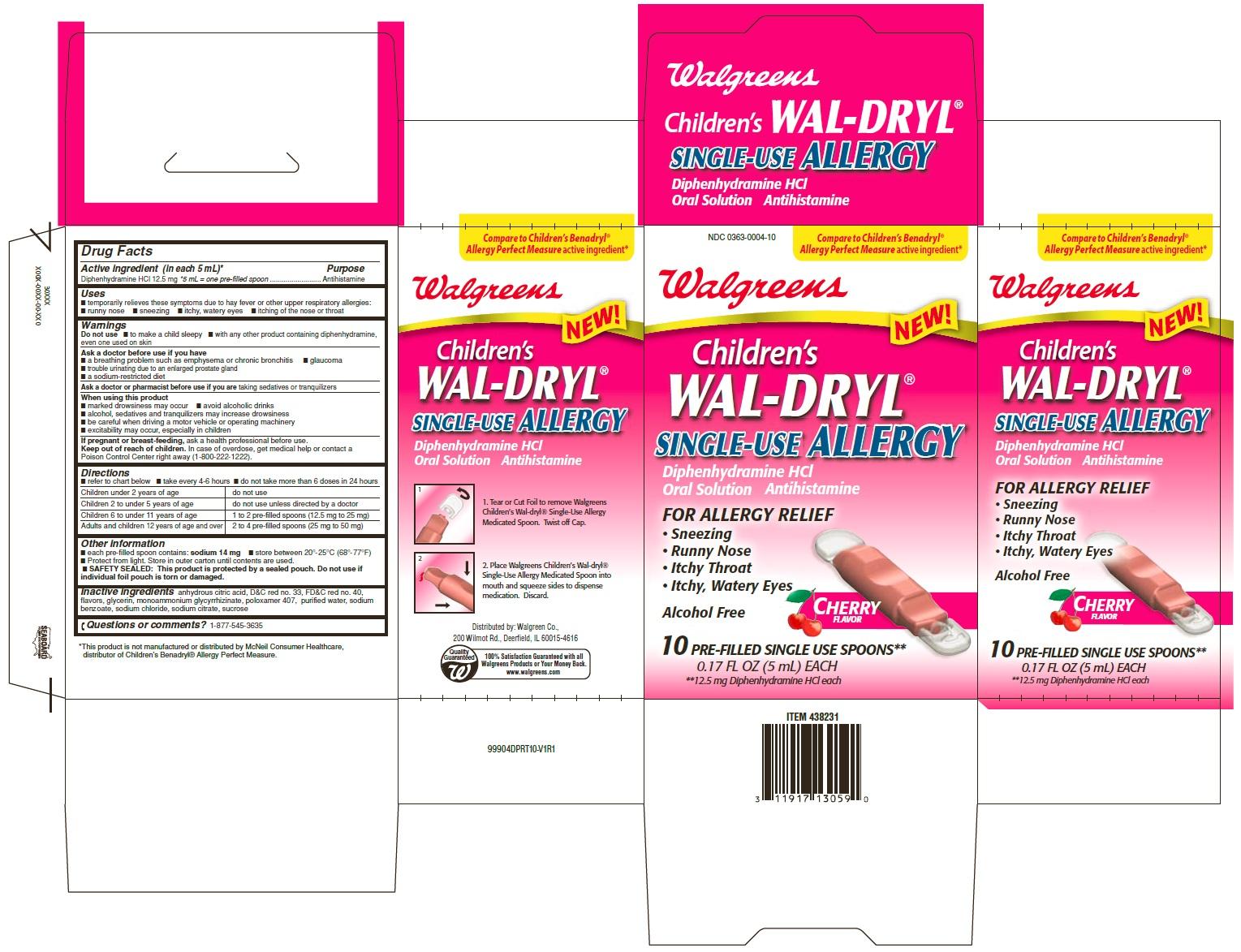 Childrens Wal-dryl Single-use Allergy (Diphenhydramine Hydrochloride) Liquid [Walgreen Company]