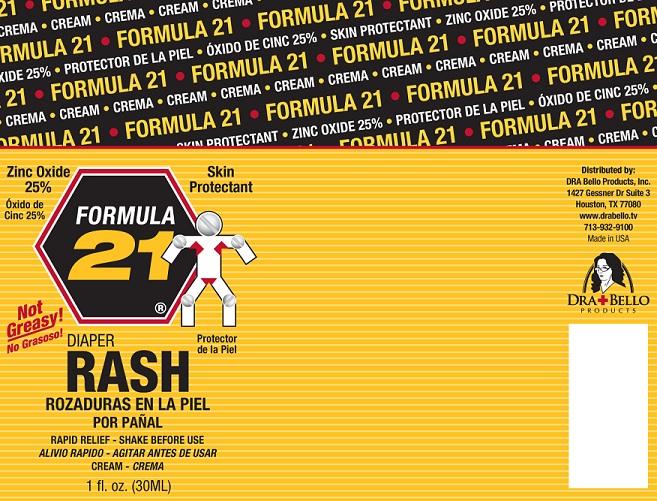 Formula 21 Diaper Rash (Zinc Oxide) Cream [Dra Bello Products, Inc.]
