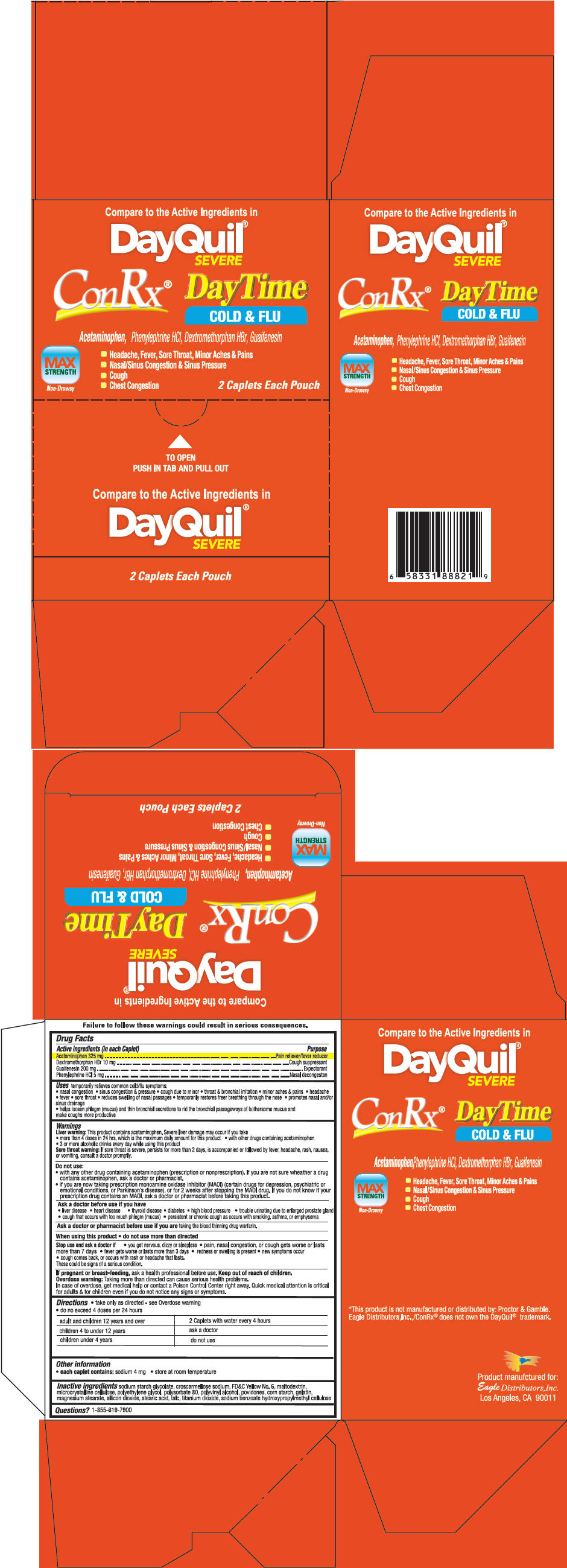 Conrx Daytime (Phenylephrine Hydrochloride, Acetaminophen, Dextromethorphan Hydrobromide, And Guaifenesin) Tablet [Eagle Distributors,inc]