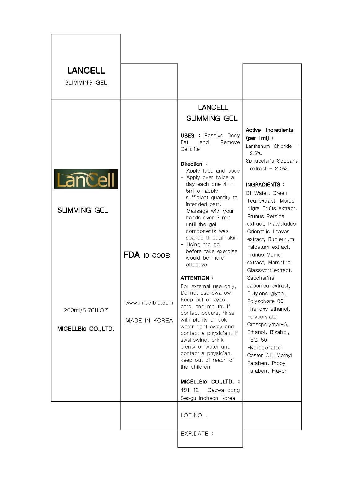 Lancell Slimming (Lanthanum Chloride) Gel [Micellbio Co., Ltd]