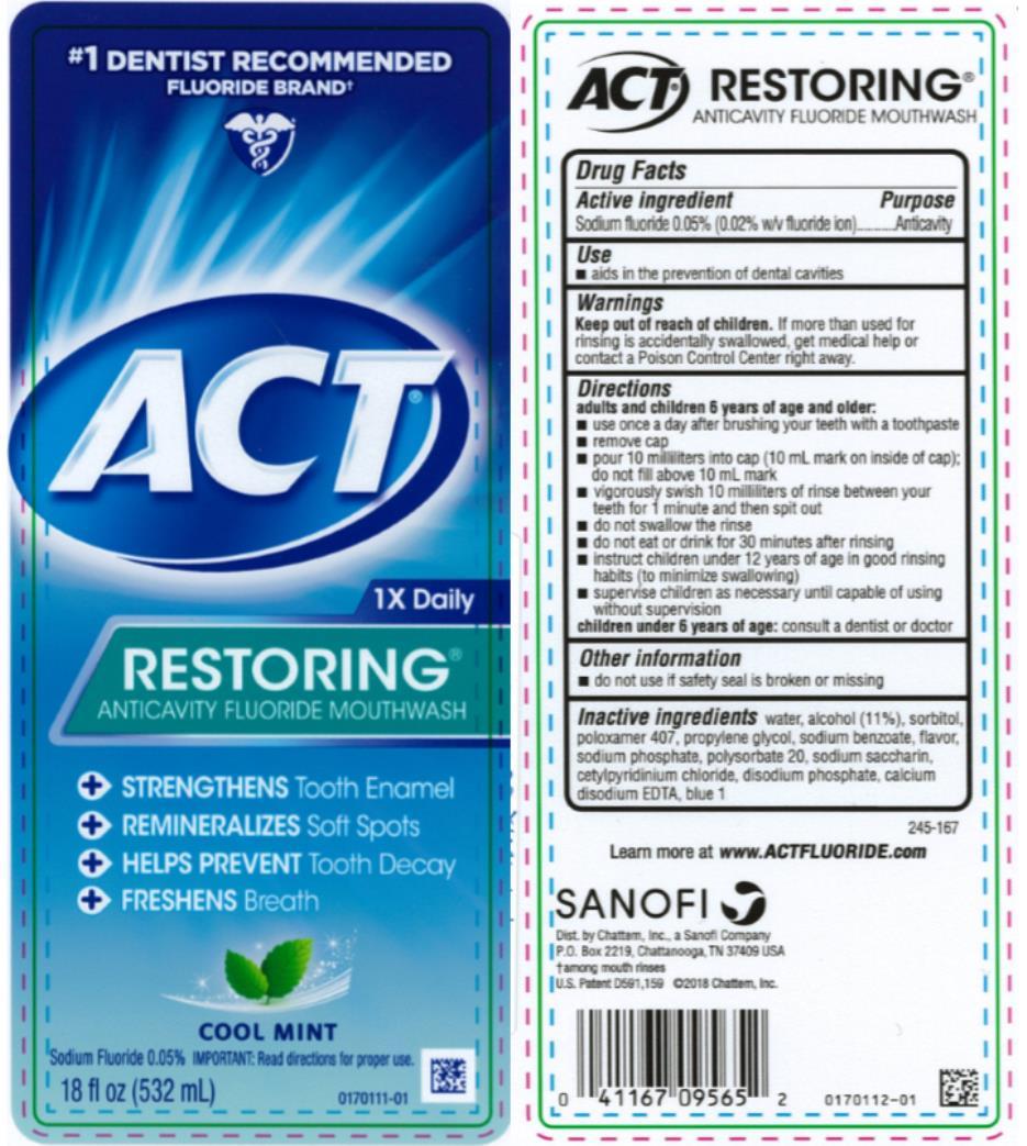 Act Restoring Anticavity Fluoride Cool Mint (Sodium Fluoride) Mouthwash [Chattem, Inc.]